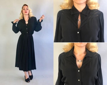 Vintage 1940s Dress | 40s Black Rayon Crepe Shirtwaist Midi Dress LBD with Long Puff Sleeves, Keyhole Neckline, and Flounced Cuffs | Medium