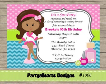 DIY - Spa/ Pamper Party Childrens Invitations