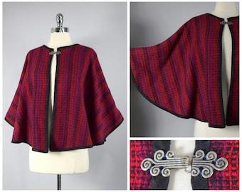 vintage 90s wool woven winter cape ⟢ vintage 190s ⟢ vtg 0s