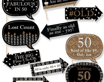 Funny Adult 50th Birthday - Gold Photo Booth Props - Birthday Party Photo Booth Prop Kit - 10 Photo Props & Dowels