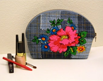 Blue Denim Raw Patchwork Cosmetic Bag  Upcycled Jean Make Up Bag with Vintage Flowers Applique  Denim Boho Quilted Zippered Pouch OOAK