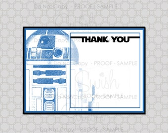 Space Party Thank you cards | Space Robot Theme Thank you note | Digital Download | Instant Download