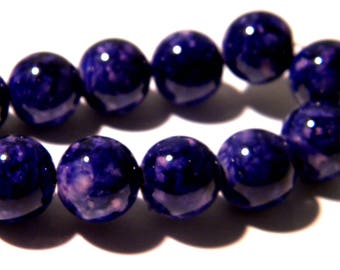 17 glass beads 12 mm - marbled glass reality - glass bead - glass - purple-G116