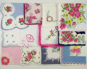Vintage Hanky Lot of One Dozen Assorted Mostly Pink Vintage Hankies Handkerchiefs (Lot #C14)