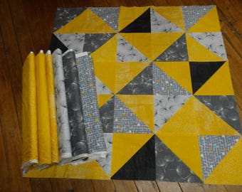 Grey and yellow patchwork Panel Kit