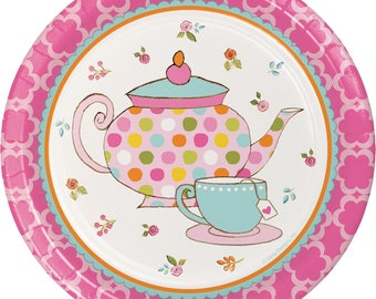 Tea Time Dessert Plates [8ct] Birthday Tea Party Cake Table Tableware Supplies