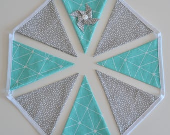 Teal and grey Bunting