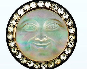 """Fantasy Jeweled Opal Moon with Diamonds Picture Pendant Necklace 1"""" with Chain"""