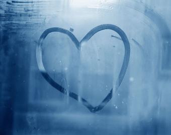Heart Photograph Window Fine Art Print, Blue Heart, Love, Minimalist Art, Large Wall Decor, Nursery Art, Abstract Print