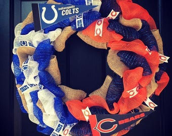 Custom Made NFL House divided wreath: Indianapolis Colts / Chicago Bears