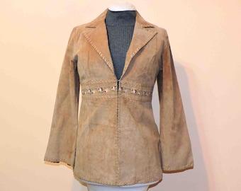 Vintage Leather Jacket Embroidered Embellishment Size Medium