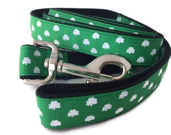 Dog Leash, Luck of the Irish, Shamrock, 1 inch wide, 1 foot, 4 foot, or 6 foot