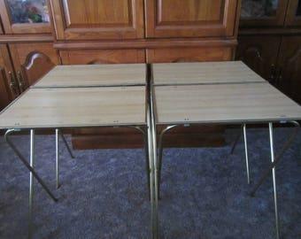 Set of 4 TV Trays *  folding table tray* Blond Wood grain  Design * TV table