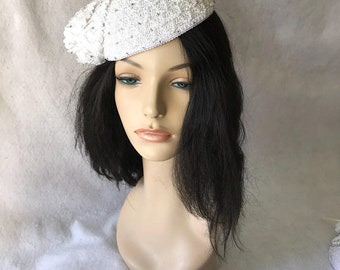 White Vintage style pearl beaded fascinator hat, Ladies white church hat, White Pillbox hat, Easter hat, High tea party hat, derby hat, sale