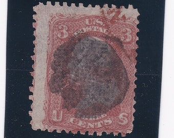 3 Cent Washington 1867 US Postage Stamp With Grill