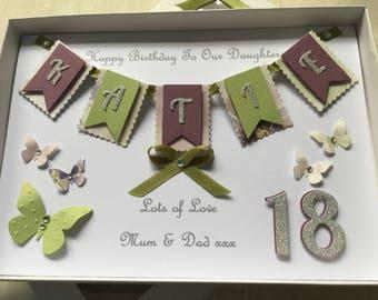 Personalised Bunting Card Handmade Birthday Anniversary Daughter Wife Sister Mum 16 18 21 30 40 50 Any Age