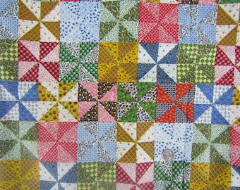 Vintage faux quilt design 35 inch wide cotton fabric almost 5 yards