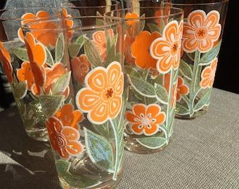 Rare Set of 6 Culver LTD Embossed Orange Flowers 12 oz. Flat Tumblers