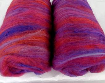 Batts, merino silk batts, fiber batts, felting wool, spinning fiber, batting, carded wool batts, orange, red, purple, 3.5oz, 100g