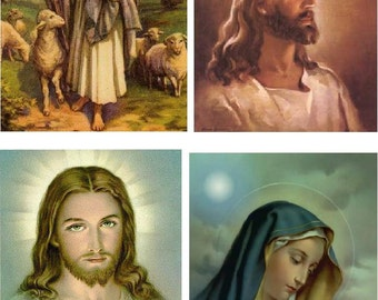 Lot Of 6 Religious Jesus Mary Fabric Panel Quilt Squares