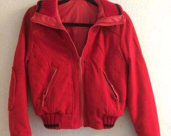 Vintage Red Vinyl Lined Wool Jacket by Jou Jou Size Medium