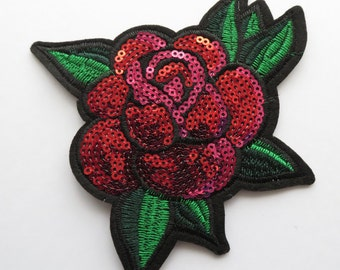 2 pieces of a sequin embroidery rose flower applique patch IRON-ON red / green