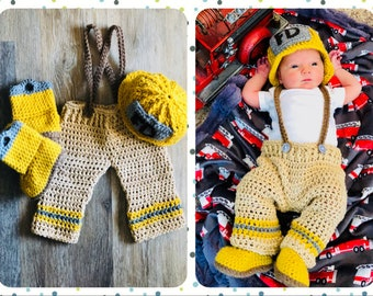 Newborn Firefighter Outfit, Newborn Fireman Outfit  Photo, Baby Fireman Photo Prop, Baby firefighter Photo Prop