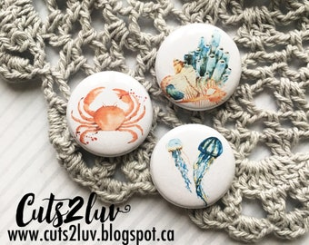 """3 buttons 1 """"marine life"""