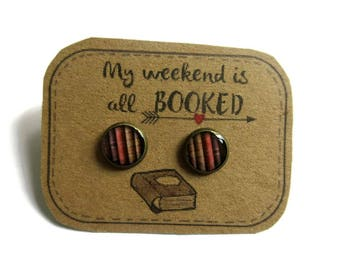 BOOK EARRRINGS - book jewellery - books - Book Lover Gift - Vintage Book Jewelry - gift for reader- Literary Gift - Librarian Gift