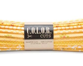 Moda Fabrics - Color Cuts Fat Quarter Bundle - Lemon Drop Yellow