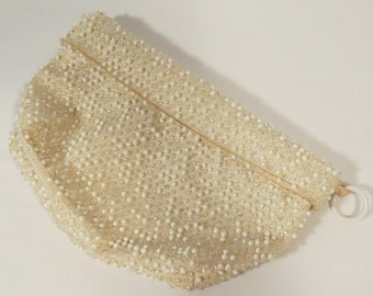 Vintage Ivory Beaded Clutch Purse, Ivory Beaded Evening Bag
