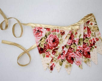 Vintage Style Rose Floral & Gold Fabric Bunting Pennant Banner Bridal Shower, Wedding Reception, Baby Shower, Nursery, Photo Prop, Tea Party