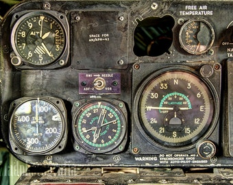Aviation Art - Photo Print of Vintage Aircraft Gauges