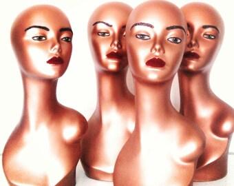 Copper Female mannequin Head