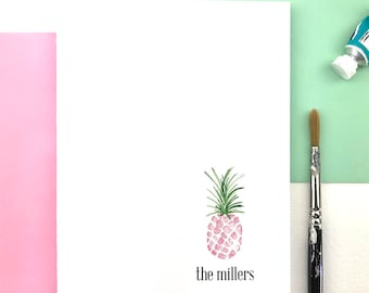 Personalized Pink Pineapple Stationary Set, Tropical Stationery Set, Pineapple Note Cards, Family Thank You Cards