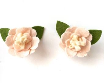 felt flower pigtail clips - blush light pink - pigtail clips - Blush