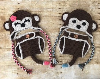 Crochet Monkey Hat with Matching Diaper Cover, Newborn photo prop
