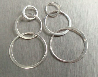 2 pcs, 37x20mm, 925 Sterling Silver 3 Eternal Circles, Half Hammered Triple circles Link, Infinity, Past Present Future, L3720