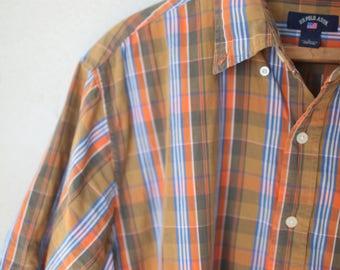 vintage orange blue plaid us polo assn button up shirt