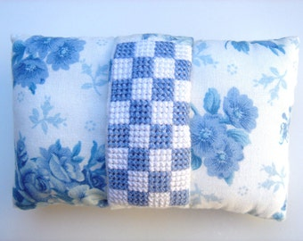 Pincushion Blue Floral with Cross Stitched Emery Insert
