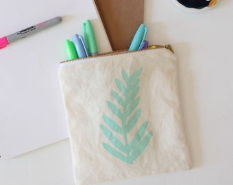 fern leaf hand printed tropical cool mint pouch gift SALE