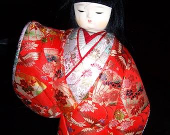 Vintage Porcelain Asian Doll in Shadowbox