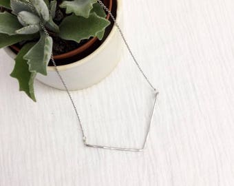 Large Silver Chevron Necklace, V Necklace, Aluminum, Stainless Steel