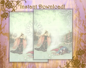 Beauty and the Beast Paper, Fairy Tale Stationery Set, Fairy Tale Paper, Fairy Tale Pages, Stationery Set, Stationery Kit, Digital Paper