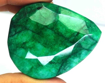 421.50 Ct Certified Natural Genuine Brazilian Pear Cut Green Emerald Loose Gemstone AO1585