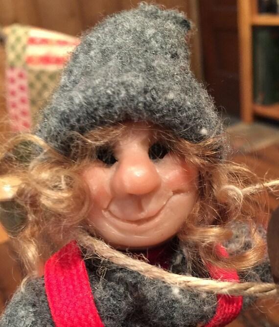 Folk Dolls, Scandanivian  Elf Skier,  Handmade sculpted face, Clothing hand sewn from wool fabric, D8