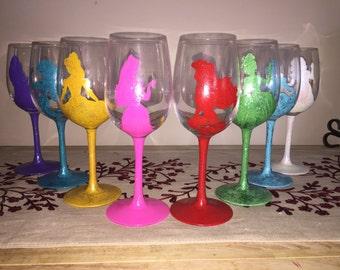 Disney Princess inspired wine glass