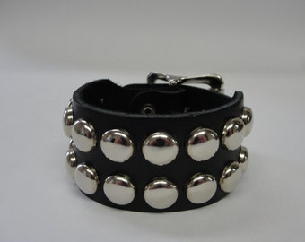 """Handmade 1-1/2"""" - 38 mm Wide Genuine Black Leather studded Wristband with Silver/Chrome Buckle & Round Dome Studs bracelet Rock Made in USA"""