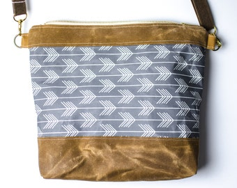 Gray Waxed canvas Crossbody Bag / arrow bag / Purse / waxed canvas / shoulder bag / travel bag / gifts for her under 50