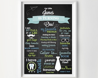 Chalkboard Birth Stats Print - Birth Stats Poster - Print for a Baby Boy's Nursery  - Instant Download Wall Art - Print at Home